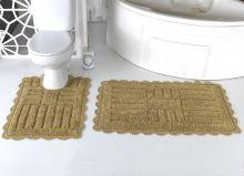 """Комплект ковриков для ванной """"MODALIN"""" кружевной ANCOR 60x100 + 50x70 см(т.бежевый) Арт.5096-2"""