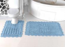"""Комплект ковриков для ванной """"MODALIN"""" кружевной ANCOR 60x100 + 50x70 см(св.голубой) Арт.5096-3"""