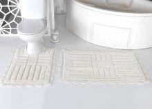 """Комплект ковриков для ванной """"MODALIN"""" кружевной ANCOR 60x100 + 50x70 см(кремовый) Арт.5096-4"""