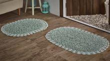 """Комплект ковриков для ванной """"MODALIN"""" кружевной DUAL 45x60 + 50x80 см(св.зеленый) Арт.5099-1"""