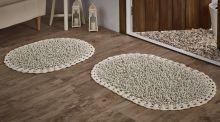 """Комплект ковриков для ванной """"MODALIN"""" кружевной DUAL 45x60 + 50x80 см(кремовый) Арт.5099-3"""