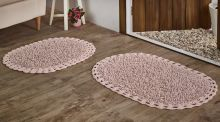 """Комплект ковриков для ванной """"MODALIN"""" кружевной DUAL 45x60 + 50x80 см(розовый) Арт.5099-4"""