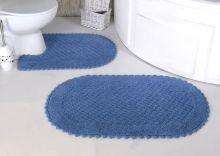 """Комплект ковриков для ванной """"MODALIN"""" кружевной PRIOR 60x100 + 50x70 см(голубой) Арт.5100-4"""