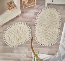 """Комплект ковриков для ванной """"MODALIN"""" кружевной CROSS 60x100 + 50x70 см(кремовый) Арт.5101-1"""