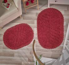 """Комплект ковриков для ванной """"MODALIN"""" кружевной CROSS 60x100 + 50x70 см(красный) Арт.5101-2"""