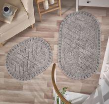 """Комплект ковриков для ванной """"MODALIN"""" кружевной CROSS 60x100 + 50x70 см(серый) Арт.5101-3"""