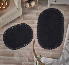 """Комплект ковриков для ванной """"MODALIN"""" кружевной CROSS 60x100 + 50x70 см(черный) Арт.5101-4"""