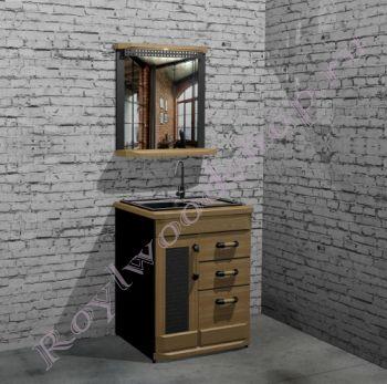 """Тумба с раковиной и зеркалом """"Честер- Лофт"""" . 70 см."""