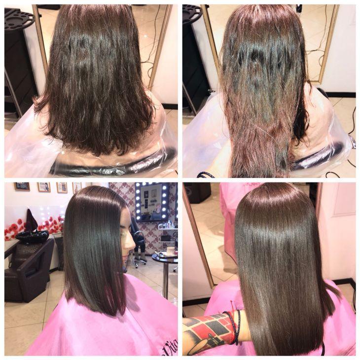 Кератиновое выпрямление и востановление волос.