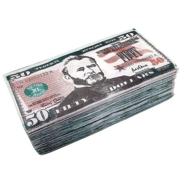 Салфетки Пачка 50 долларов 2-х сл. 33х33см