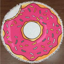 Махровое круглое пляжное полотенце, 150 см, Пончик