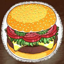 Махровое круглое пляжное полотенце, 150 см, Гамбургер