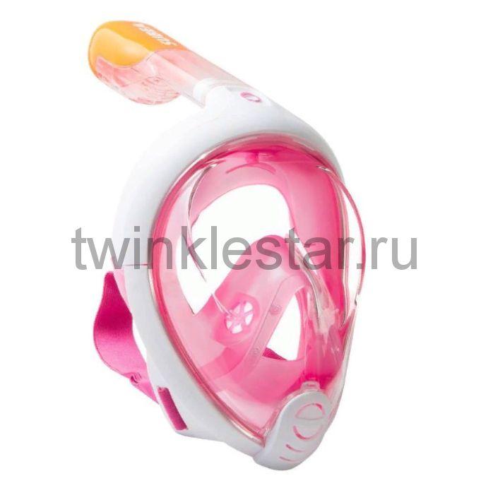 Маска для снорклинга с креплением для экшн-камеры FREEBREATH, розовая, размер L-XL