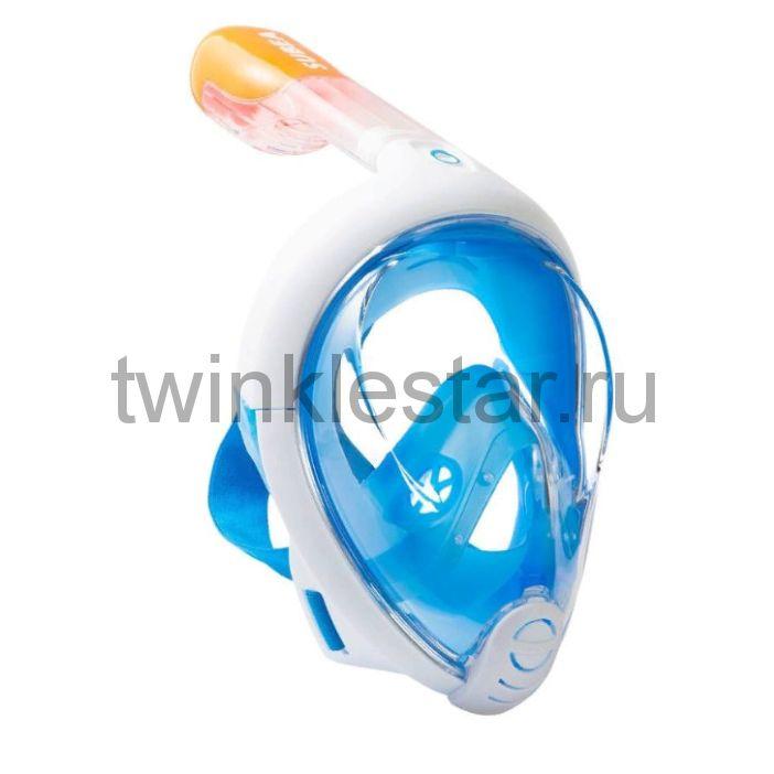 Маска для снорклинга с креплением для экшн-камеры FREEBREATH, голубая, размер L-XL