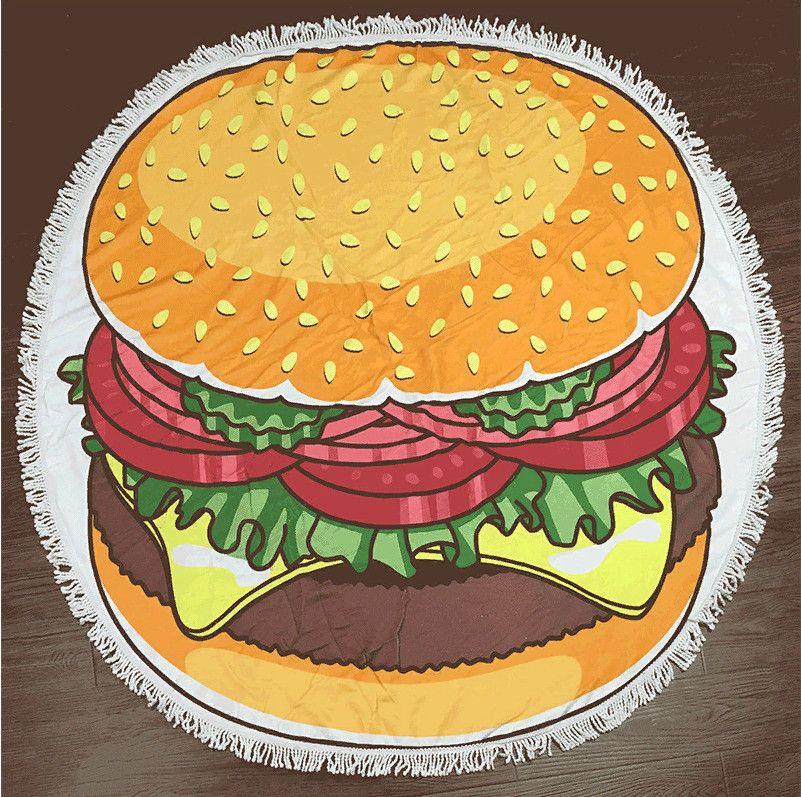 Махровое круглое пляжное полотенце (Гамбургер, 150 см)