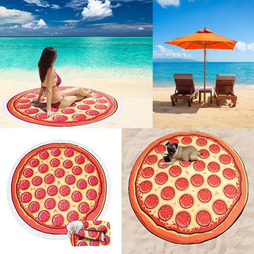 Махровое круглое пляжное полотенце (Пицца, 150 см)