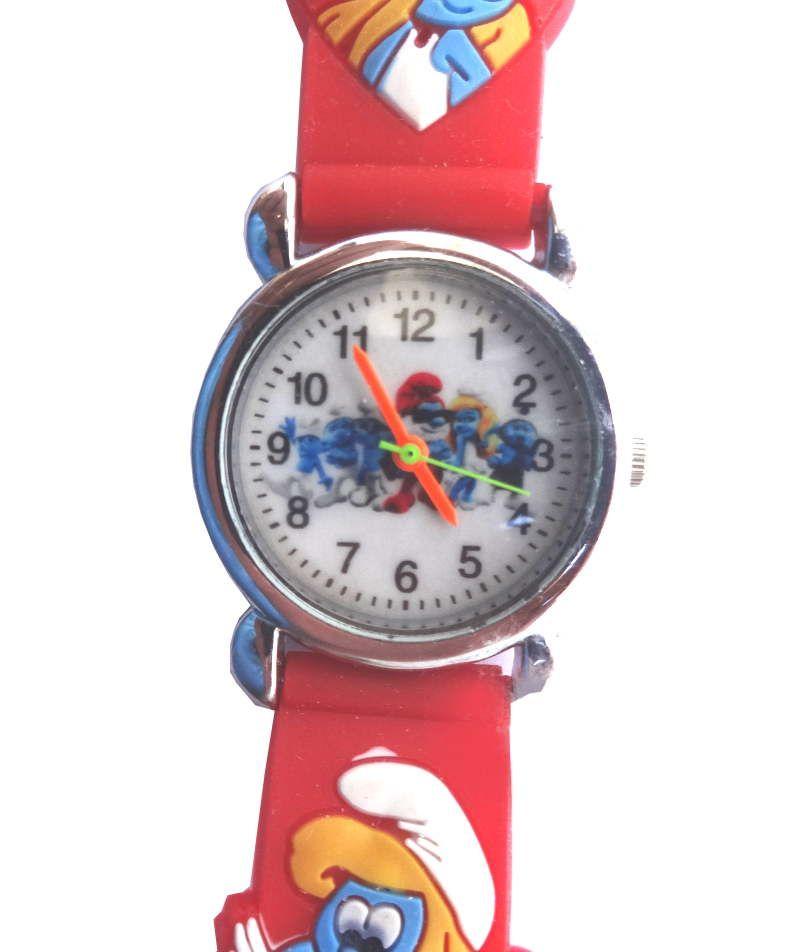 Красные часы Смурфетта для девочки