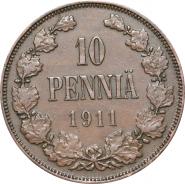 НИКОЛАЙ 2 - Русская Финляндия 10 пенни 1911 года (2048)