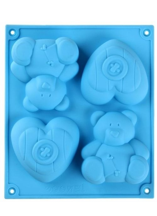 "Форма для шоколада, 4 ячейки, ""Мишка и сердце"""