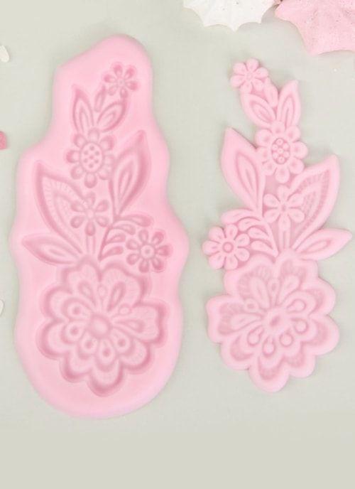 """Молд, 2 части, 6,5х13,5х0,4 """"Цветок"""" розовый"""
