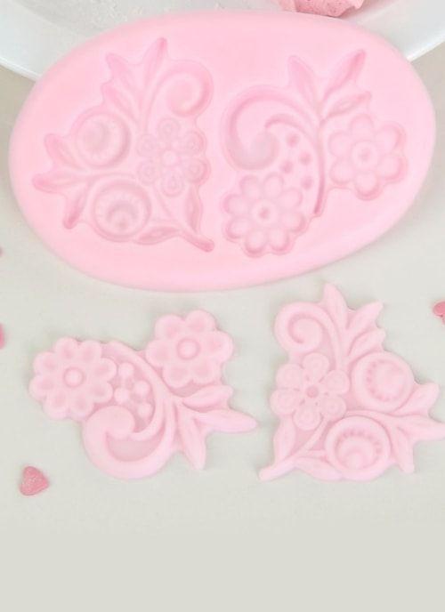 """Молд, 3 части, 10,5х6,5х0,3 """"Цветы"""" розовый"""