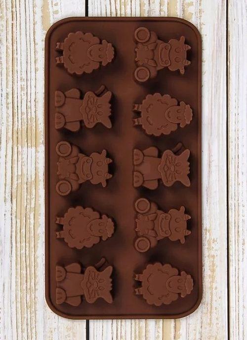 "Форма для шоколада,  15 ячеек, 20,5х10,5х1,5 см ""Кот, корова и овца"""