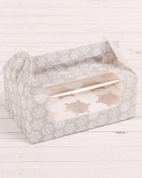 """Коробочка для кексов 6шт """"Зима"""", 24 х 16 х 10 см"""