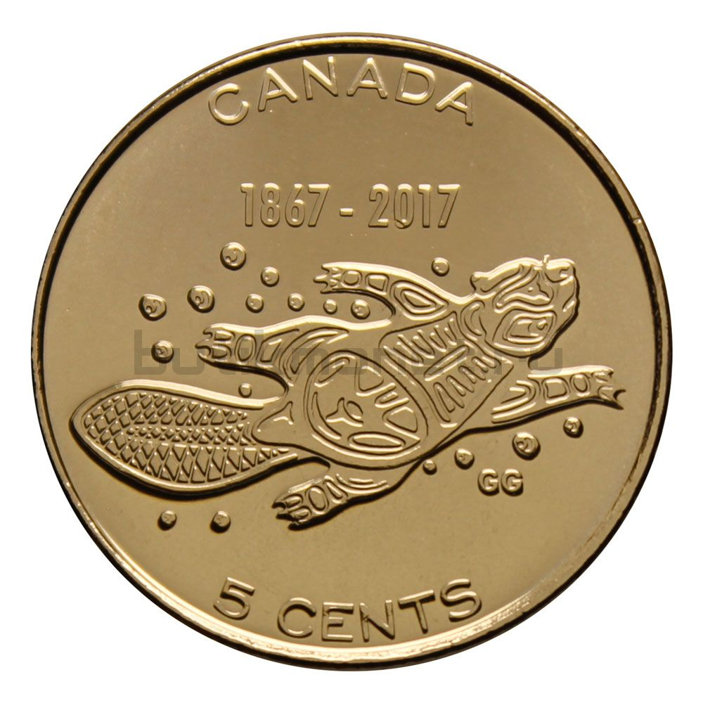 5 центов 2017 Канада 150 лет Бобер (150 лет Конфедерации Канады)