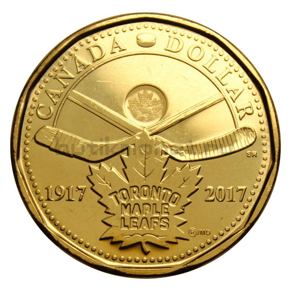 1 доллар  2017 Канада 100 лет Хоккейному клубу Торонто Мейпл Лифс