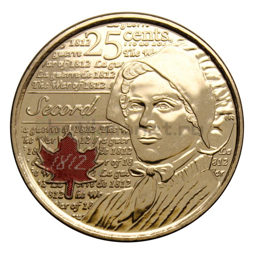 25 центов 2013 Канада Лора Секорд Цветная (Война 1812 года)