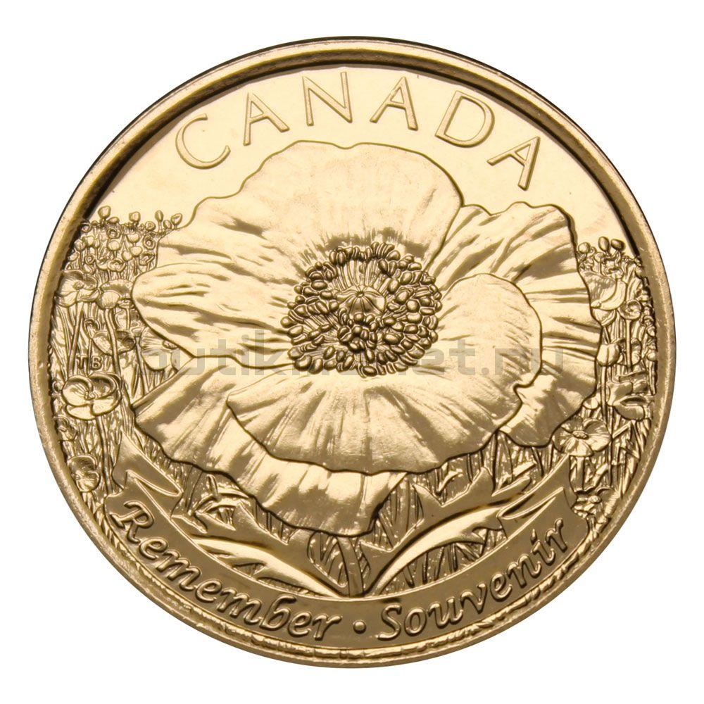25 центов 2015 Канада 100 лет стихотворению На полях Фландрии - Мак