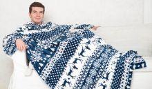 Плед с рукавами Sleepy бело-синий с оленями с поясом