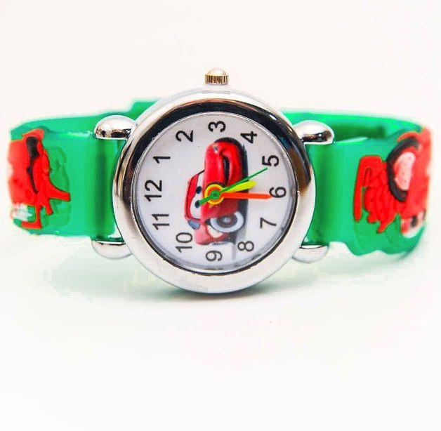 Зеленые наручные часы для мальчика Молния Маккуин