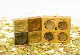 Набор оливкового мыла в подарочной картонной упаковке с круглыми отверстиями, 4 шт./~460 гр