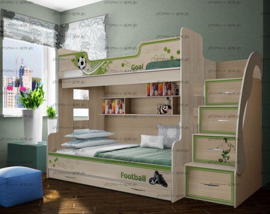 Кровать двухъярусная Футбол Фанки Кидз ФУТ-21, трехместная