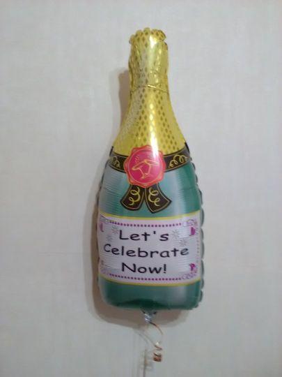 Шампанское фольгированный шар с гелием