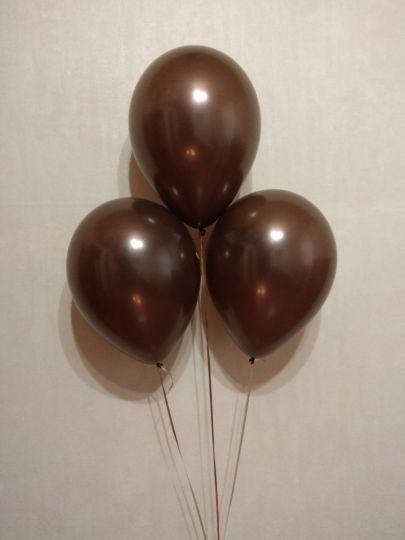 Шоколадный (коричневый) металлик шар латексный с гелием