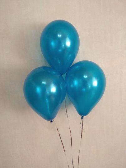 МИНИ шар синий металлик маленького размера с гелием