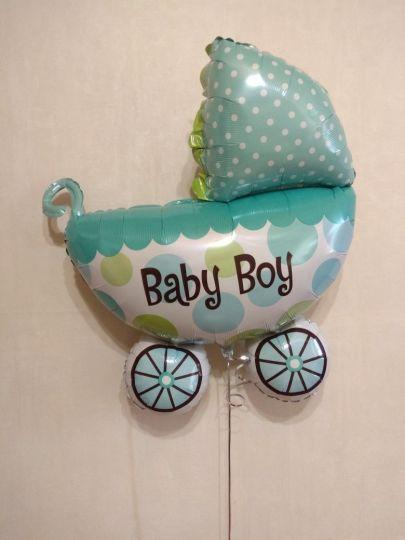 Коляска в горошек для мальчика фольгированный шар с гелием