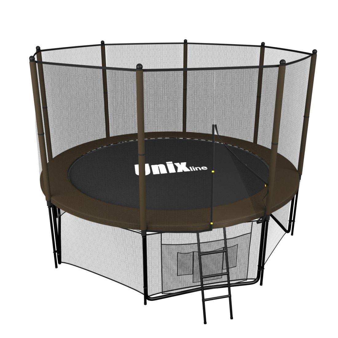 Батут с внешней защитной сеткой - Unix Line 8FT (2,43м), цвет черно-коричневый
