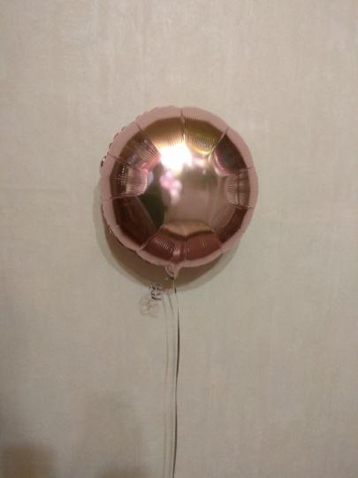 Круг розовое золото шар фольгированный с гелием