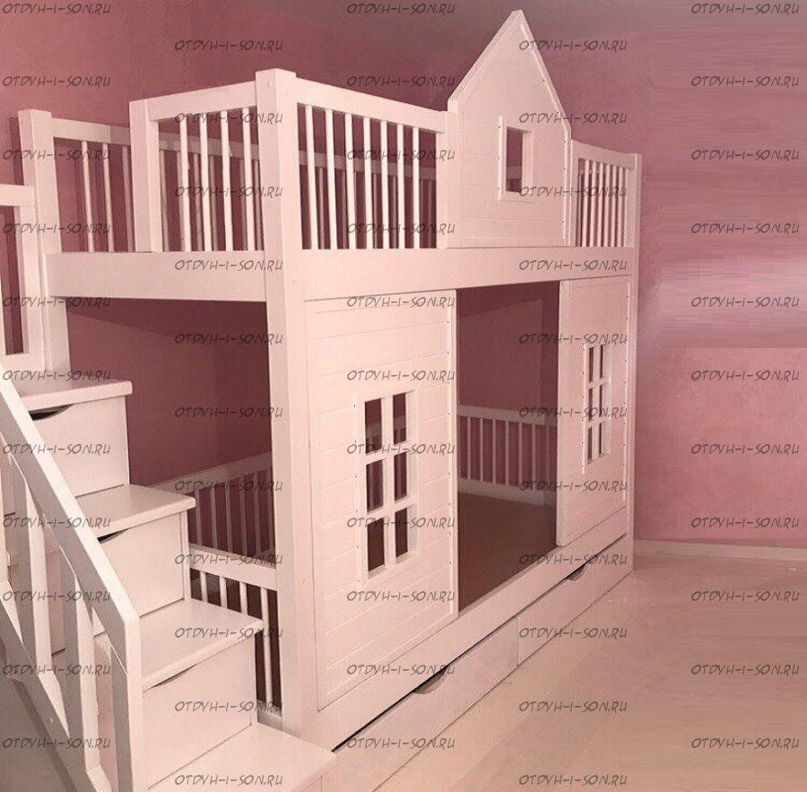Кровать двухъярусная Домик Теремок №14, Массив