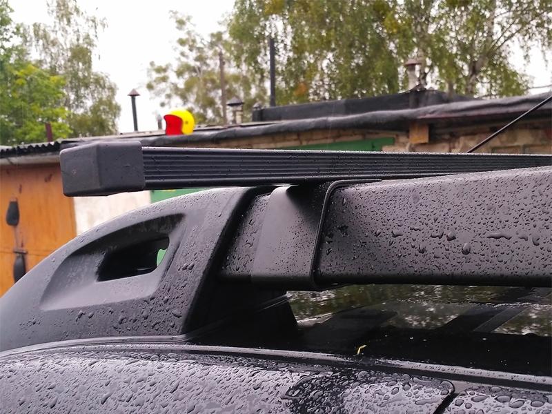 Багажная система на рейлинги Renault Duster 2 (2015-...), Delta, черный, стальные прямоугольные дуги