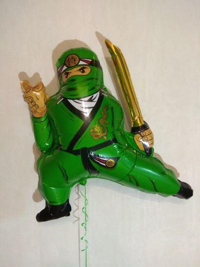 Ниндзя зеленый шар фигурный фольгированный с гелием