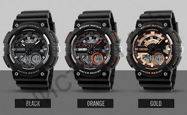 Часы наручные Skmei 1235 двойное время подсветка будильник Высокое качество Водонепроницаемые !