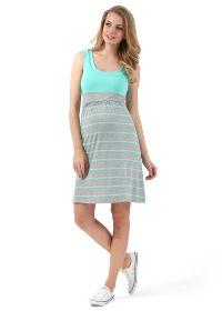 """Платье """"Триколор"""" для беременных и кормящих серый меланж ментол полоса"""