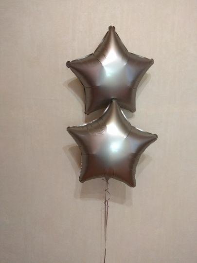 Звезда Сталь Сатин шар фольгированный с гелием