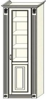 Колонка-витрина Ферсия бельевая с двумя пилястрами, верхние полки стекло (модуль 12)