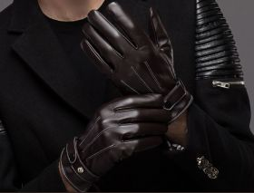 Перчатки зимние мужские кожаные коричневые