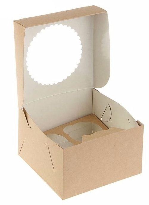 Коробка для капкейков с окном на 4шт